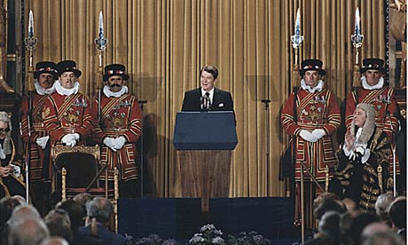 President Ronald Reagan addresses British Parliament at the House of Lords