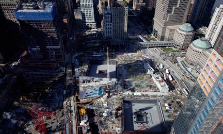 Ground zero in New York on 5 May 2011. Under construction, One World Trade Center
