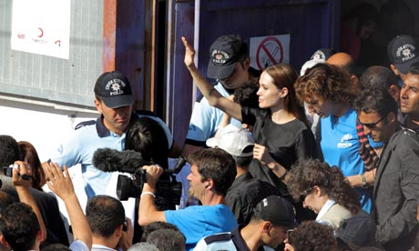 Angelina Jolie greets Syrian refugees during her visit to Hatay, Turkey, 17 June 2011