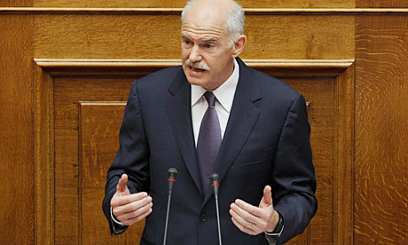 Greece's prime minister George Papandreou addresses parliamentarians in Athens