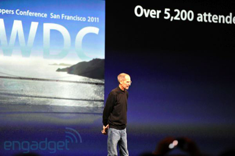 Steve Jobs takes the stage at WWDC. Photo: Engadget
