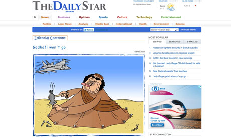 Lebanon Daily Star Gaddafi cartoon