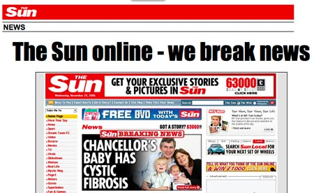 Screengrab of Sun website