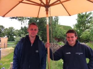 Oliver King and Simon Abbott in the WorldSkills garden