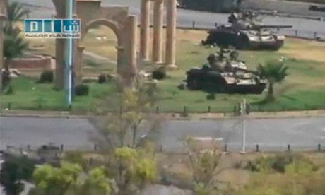 Tanks in Hama in a video uploaded on 1 August 2011. The video cannot be independently verified.
