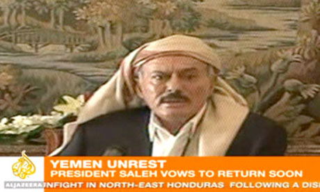 An al-Jazeera screen grab of president Ali Abdullah Saleh of Yemen