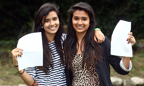 A-level results 2011 Olivia and Hannah Singh