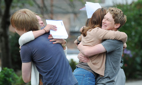 Pupils from Bootham School, York celebrate getting their A-level results on 18 August 2011.