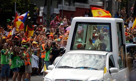 Millions of young people cheer Pope Benedict XVI in Madrid