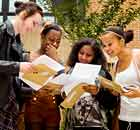 Students getting their A-level results at Stoke Newington School & Sixth Form
