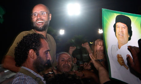 Saif al-Islam Gaddafi back on the streets of Tripoli on Tuesday 23 August 2011.