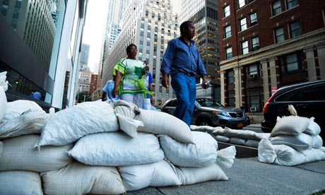 Sandbags in downtown Manhattan
