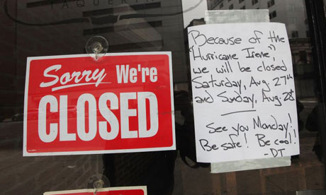 A store in New York shuts down in preparation for hurricane Irene