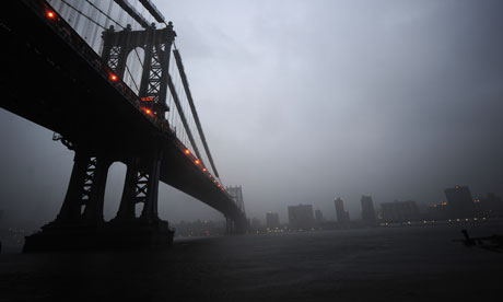 View from Manhattan Bridge as New York is hit by Hurricane Irene