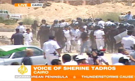Scuffles outside the court in Cairo where Hosni Mubarak is on trial, 3 August 2011