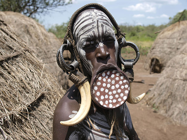 celebrate gallery: Woman of the Mursi tribe, Lower Omo Valley, Southern Ethiopia