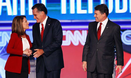 Michele Bachmann, Mitt Romney and Rick Perry at the Republican debate