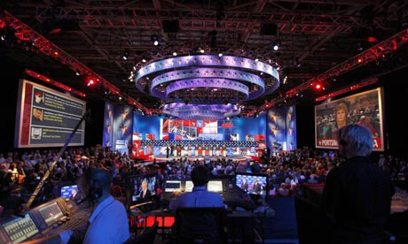 The CNN/Tea Party Republican presidential debating hall in Tampa