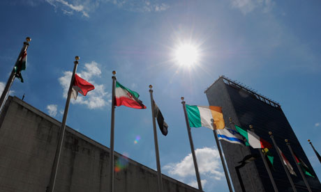 Flags fly outside UN headquarters in New York