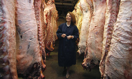 Michele Bachmann at meat packing plant, Iowa
