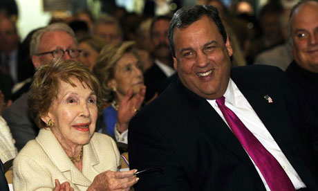 Chris Christie sits with Nancy Reagan before addressing a forum at the Reagan library in California