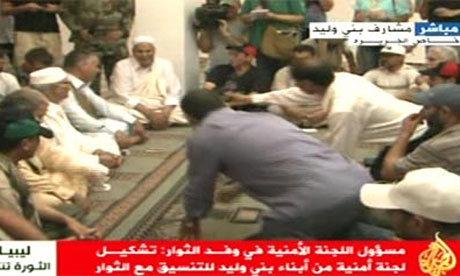 Screengrab of Al-Jazeera footage of negotiations with elders from Bani Walid, Libya