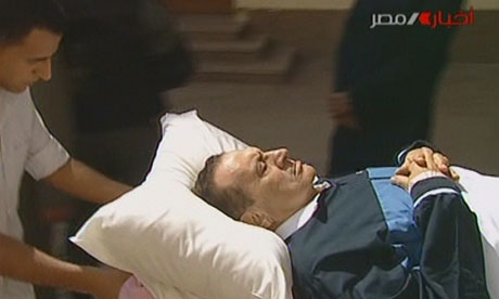 Hosni Mubarak wheeled into court in Cairo on 7 September 2011.