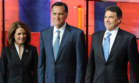 Michele Bachmann, Mitt Romney and Rick Perry