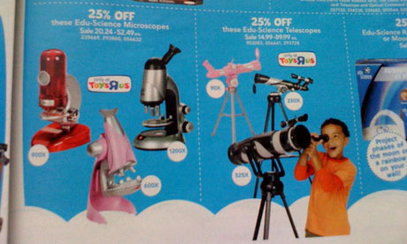Toys R Us catalogue showing less powerful pink telescopes and microscopes than other colours