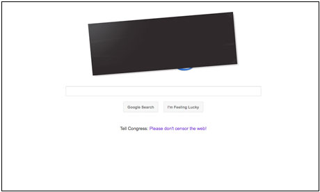Google blacks out its logo to mark the Sopa day of action