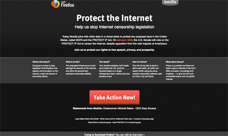 Sopa - stop online privacy act - Firefox