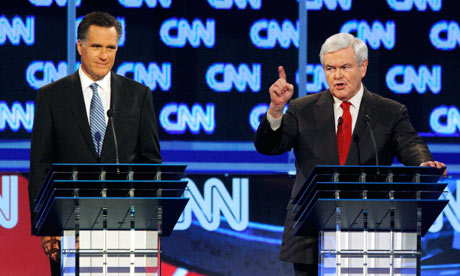 Mitt Romney and Newt Gingrich at the South Carolina Republican debate