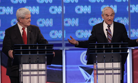 Newt Gingrich and Ron Paul at the Republican debate