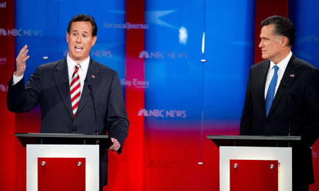 Rick Santorum and Mitt Romney at the Republcian debate