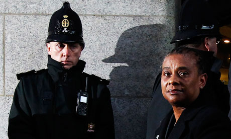 Doreen Lawrence outside court after two men were convicted of the racist murder of her son Stephen