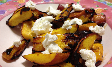 peaches and goat cheese