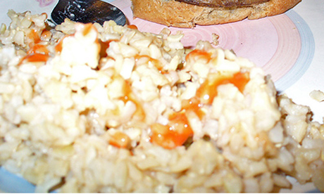 rice and hot sauce