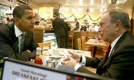Barack Obama and Michael Bloomberg in 2008