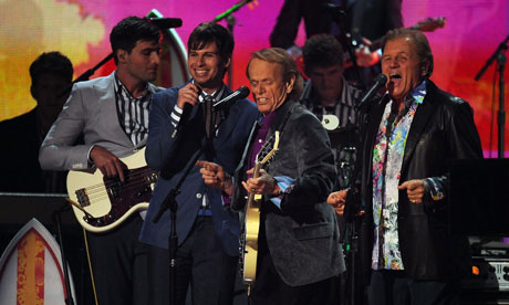 The Beach Boys perform with Foster the People at the Grammys