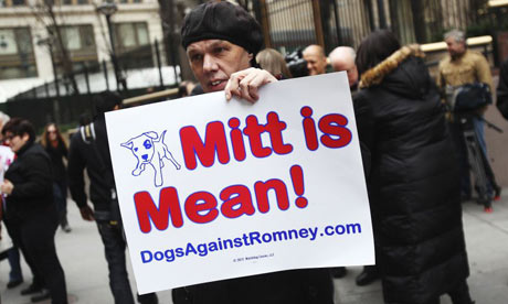 Dogs against Romney supporter