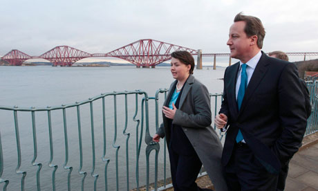 David Cameron and Scottish Conservative leader Ruth Davidson at South Queensferry, in Scotland