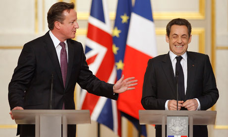 David Cameron and Nicolas Sarkozy at a press conference in Paris on 17 February 2012.