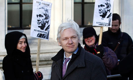 Julian Assange arrives at the supreme court on 2 February 2012.