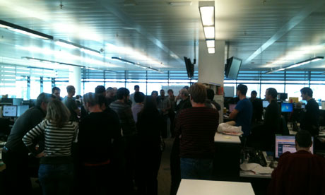 Guardian developers gather together for the start of Hack Day