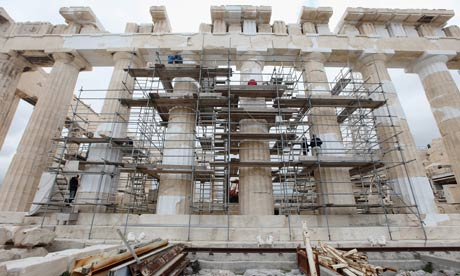 Restoration work takes place on the Parthenon in Athens