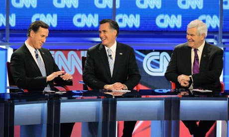 CNN Republican debate in Arizona with Rick Santorum, Mitt Romney and Newt Gingrich