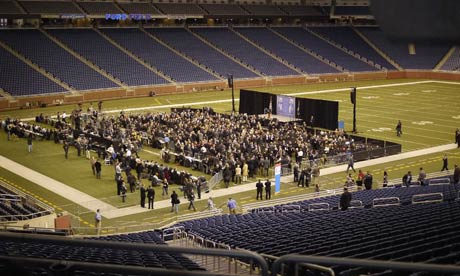 Mitt Romney speaks at Ford Field