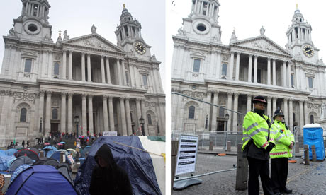 The Occupy London camp outside St Paul's Cathedral in October 2011 and on Tuesday 28 February 2012.