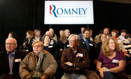 Mitt Romney supporters at his election night party in Michigan
