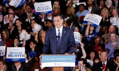 Mitt Romney speaks after winning Michigan and Arizona